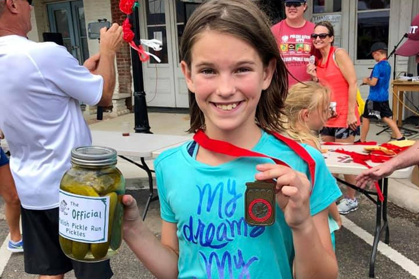 Polish Pickle Run Bremond, Texas Kids 5K Run Pickle & Medal Awards